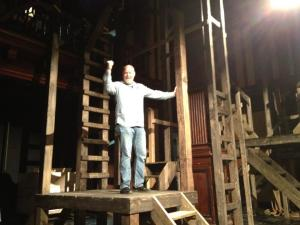 Actor James Keegan testing the set-in-progress for Henry V