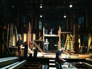Load-in for the Henry V set